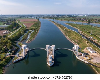 Aerial view on water sluice complex in the Lek river in the Netherlands