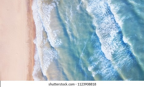 Aerial view on the waves. Beautiful natural seascape from air