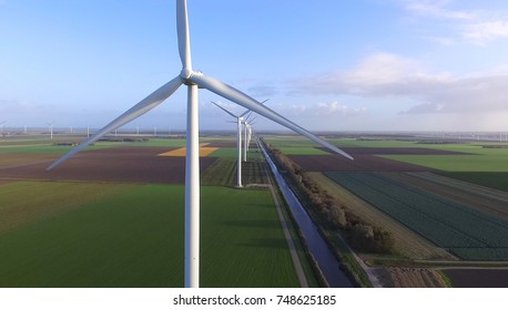 Aerial view on a wind turbine