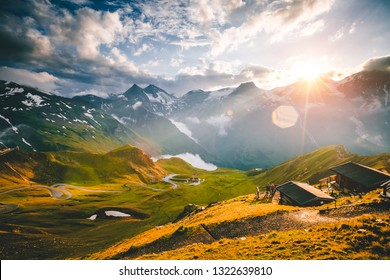 Aerial view on a winding road in summer day. Location place Grossglockner high alpine road, state of Salzburg, Austria, Europe. Famous european travel destination. Discover the beauty of earth.