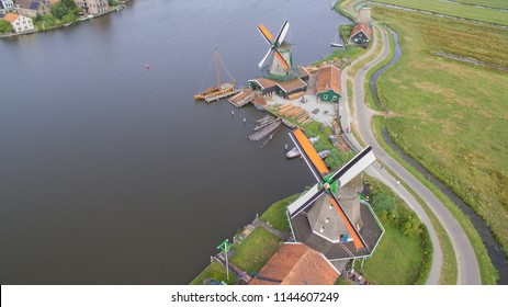 Aerial view on the windmills at the Zaanse Schans.