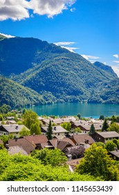 Aerial view on Wolfgangsee lake,  Salzkammergut, Austria, Europe