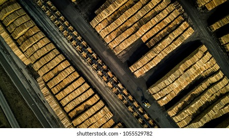Aerial view on the wooden factory and logs storage. Conceptual photo, geometrical pattern.