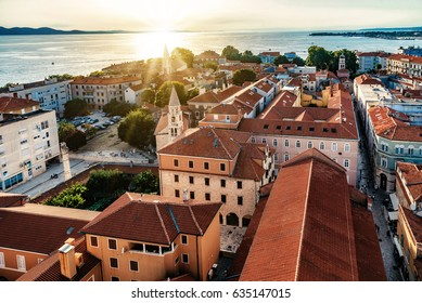 aerial view on Zadar in Croatia at sunset