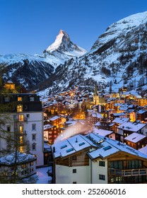 Aerial View on Zermatt Valley and Matterhorn at Dawn, Zermatt, Switzerland