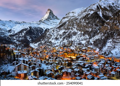 Aerial View on Zermatt Valley and Matterhorn Peak in the Morning, Switzerland