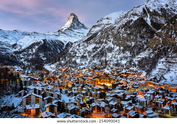 Aerial View on Zermatt Valley and Matterhorn Peak in the Morning, Switzerland