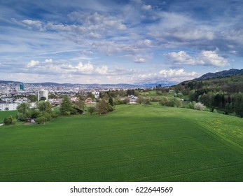 Aerial view on Zurich from the suburbs