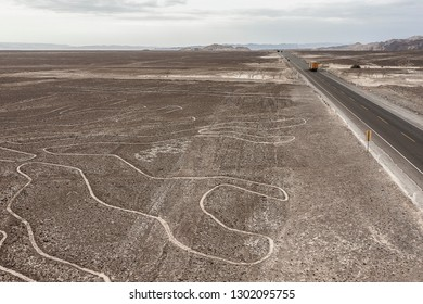 The aerial view of one of the enigmatic figures and lines drawn in the Nazca desert in Peru, South America
