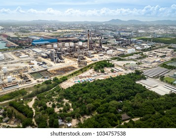 Aerial view of one of many petrochemical plants of Map Ta Phut industrial area in Eastern Economic Corridor, Rayong, Thailand.