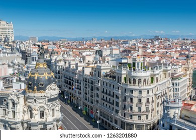 Aerial view of one of the most important street in Madrid downtown from Grand Via.
