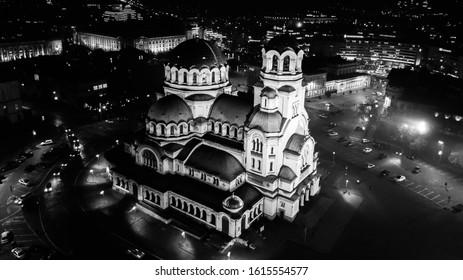 Aerial view - one of the most popular cathedrals in Sofia, Bulgaria.