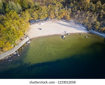 Aerial view of one of the sand beaches in Sanabria Lake Natural Park in the Northwest part of Spain.