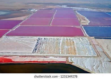 Aerial view of one of the worlds largest salt mines located between Wallis Bay and Swakopmund in Namibia.
