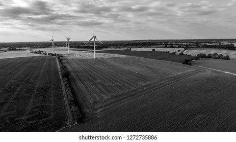 Aerial View of Onshore Windfarm in Black and White