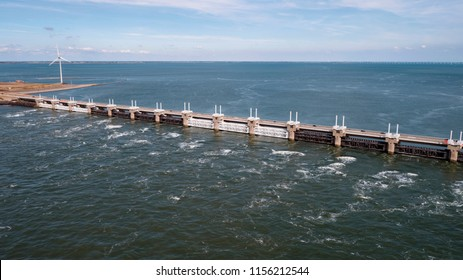Aerial view at the Oosterschelde storm surge barrier (The Netherlands) by drone
