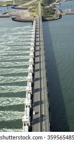 Aerial view of the Oosterscheldekering, a storm surge barrier which is part of the delta works to protect Holland from high sea level