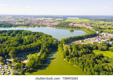Aerial view of Opatovicky pond and Svet Pond in Trebon, South Bohemia, Czech republic, European union. Famous carp breeding lakes and tourist destination with many landmarks.