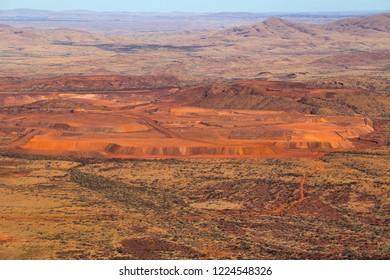 Aerial view of an open cut iron ore mine in the Pilbara region of Western Australia