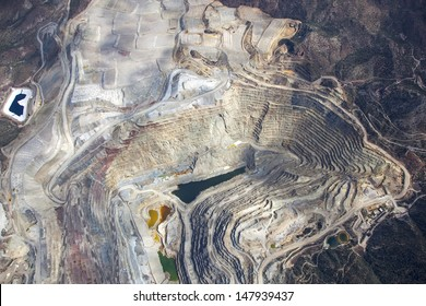 Aerial view of an open pit mining in Arizona