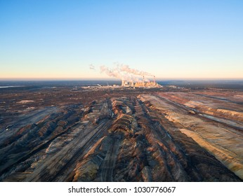 Aerial view of open-cast coal mine and power plant in Belchatow city, Poland