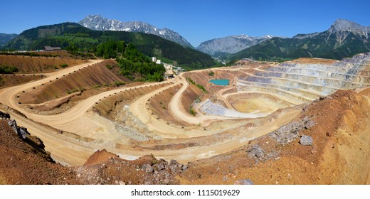 Aerial view of opencast mining quarry, Austrian Alps