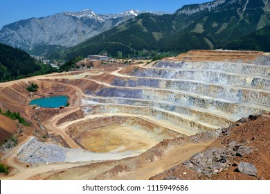 Aerial view of opencast mining quarry in Austrian Alps