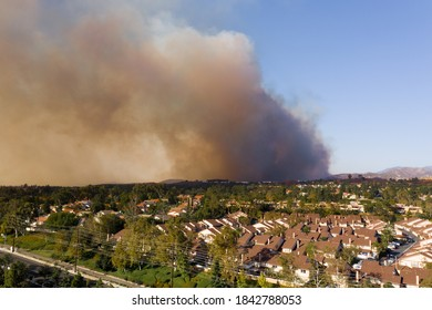 Aerial View of Orange County California Wildfire Smoke Covering Middleclass Neighborhoods During the Silverado Fire_01