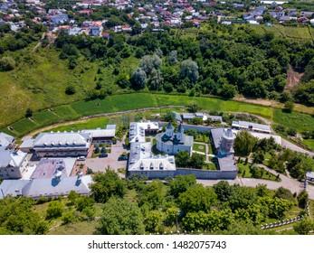 Aerial view of the Orthodox Christian monastery in the city of Slatina, Romania. Clocochiov monastry.