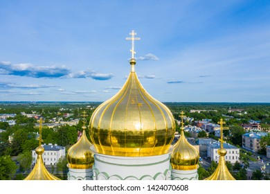 Aerial view of the Orthodox church, cathedral with golden crosses and domes in the city of Pushkin. Russia. pushkin