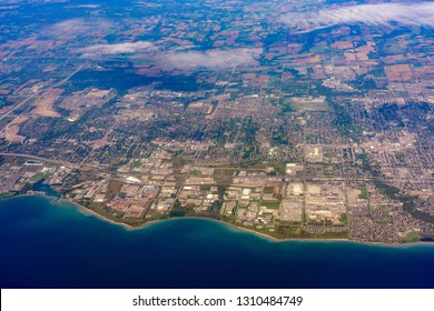 Aerial view of the Oshawa area cityscape at Canada