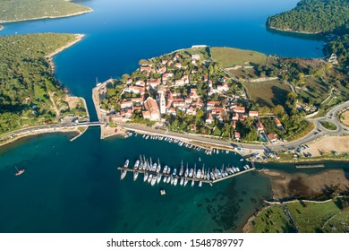 Aerial view of Osor ( Ossero ) is a small town and port on the Cres island in Croatia. It is lies at a narrow channel that separates islands Cres and Lošinj.