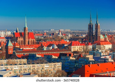 Aerial view of Ostrow Tumski with Cathedral of St. John and church of the Holy Cross and St. Bartholomew from St. Mary Magdalene Church in the morning in Wroclaw, Poland