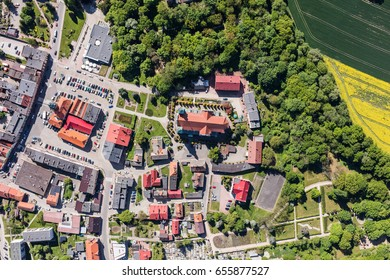 aerial view of the Otmuchow town center in Poland