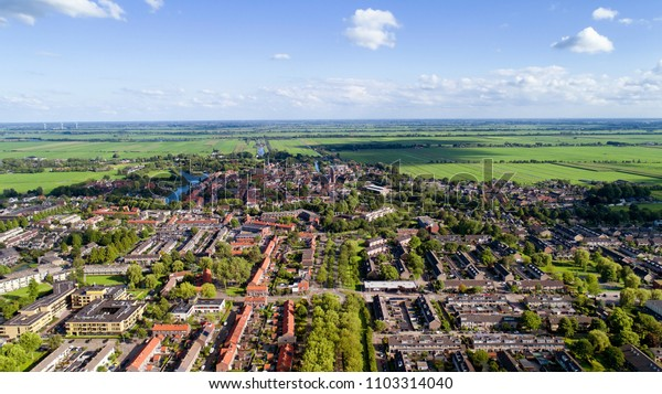 Aerial view of Oudewater in the Netherlands