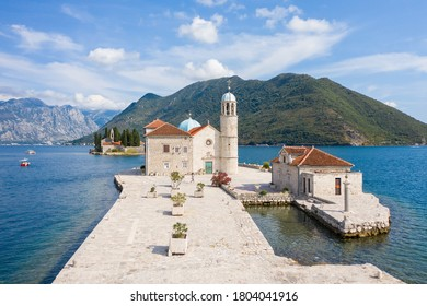 Aerial view of Our Lady of the Rocks is one of the two islets off the coast of Perast in Bay of Kotor, Montenegro.