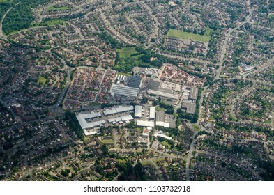 Aerial view of an out of town shopping centre in the Sandford area of Reading, Berkshire.  The centre includes shops and leisure facilities.  Viewed on a sunny, summer day