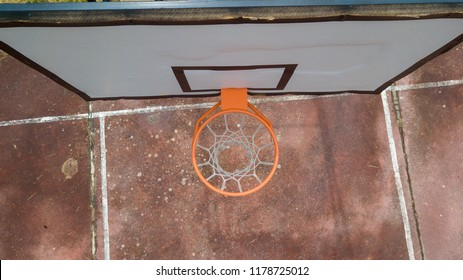 Aerial view of outdoor basketball hoop. View from above.