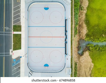 Aerial view of a outdoor hockey court