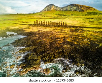 An aerial view over Ahu Tongariki, the most amazing Ahu platform on Easter Island. 15 moais still stand up at the south east of the Island. Ahu Tongariki reveals the Moais magic.