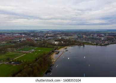 Aerial view over Alphen aan den Rijn, the netherlands.