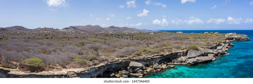 Aerial view over area Watamula on the western side of  Curaçao/Caribbean /Dutch Antilles