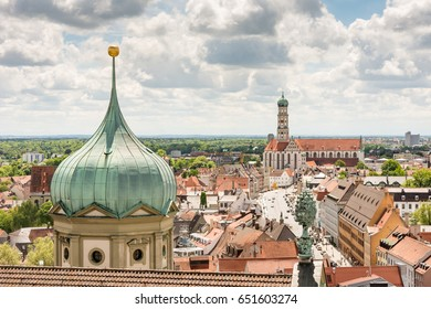 Aerial view over Augsburg with the tower of the old town hall.