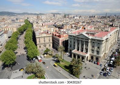Aerial view over Barcelona from Mirador de Colom