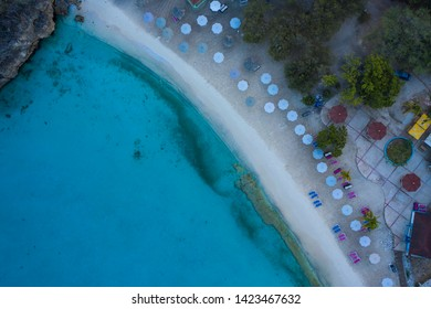 Aerial view over beach Grote Knip on the western side of  Curaçao/Caribbean /Dutch Antilles
