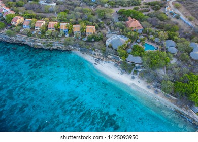 Aerial view over beach Playa Kalki on the western side of  Curaçao/Caribbean /Dutch Antilles