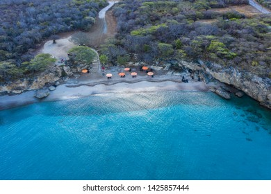 Aerial view over beach Playa Jeremi on the western side of  Curaçao/Caribbean /Dutch Antilles