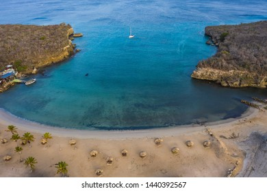 Aerial view over beach of Sta. Cruz on the western side of  Curaçao/Caribbean /Dutch Antilles
