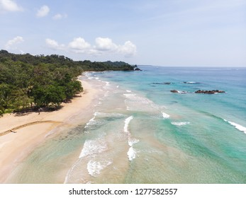 Aerial view over beautiful Red Frog Beach on Isla Basimentos in Bocas Del Toro Province, Panama