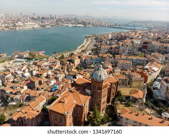 Aerial view  over building of greek lycee for the Balat Rum School on the shore of golden horn in Istanbul Turkey